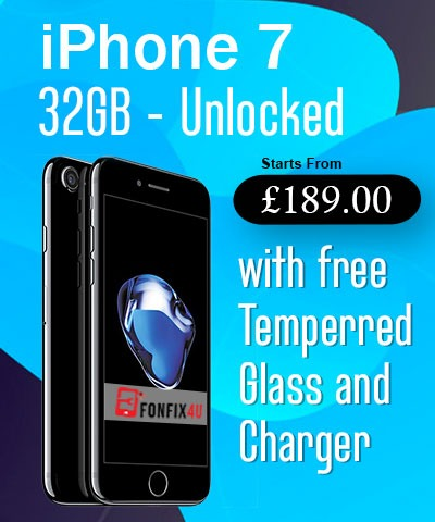 iPhone 7 Unlocked with Free Glass & Charger